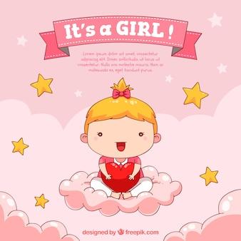 Fond de bébé fille dans un style dessiné à la main