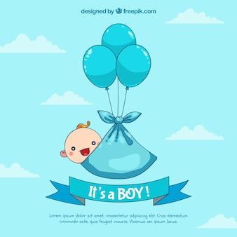 Fond de bébé garçon dans un style dessiné à la main