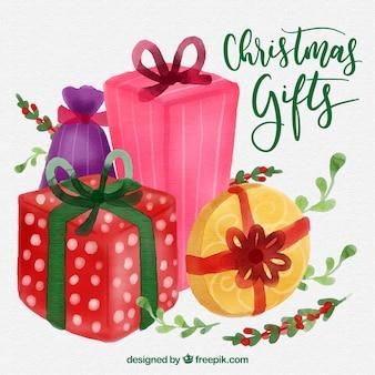Fond de belles boîtes-cadeaux aquarelles