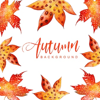 Fond de belles feuilles d'automne aquarelle