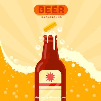 Fond de bière avec une bouteille