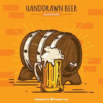 Fond de bière dessiné à la main