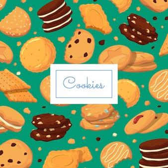 Fond avec des biscuits de dessin animé