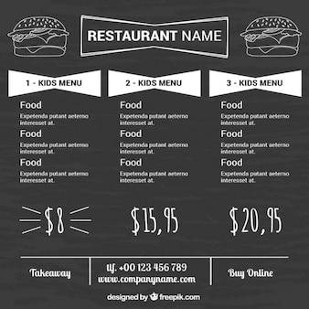 Fond blackboard avec le menu