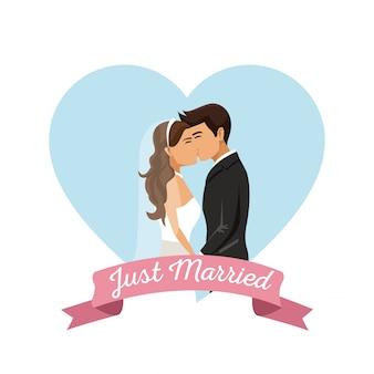 Fond blanc avec l'affiche de trame de couleur coeur forme de couple vient de se marier