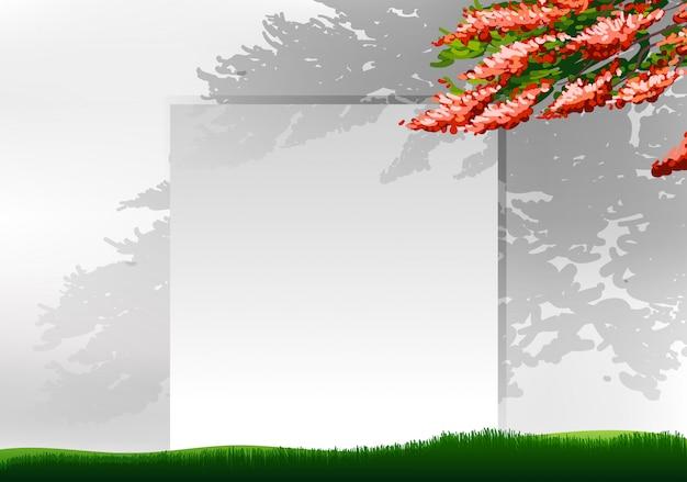 Fond blanc avec arbre