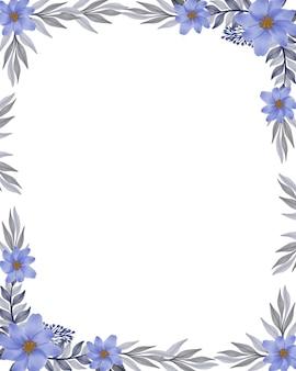 Fond blanc avec arrangement aquarelle fleur de feuille violette et grise