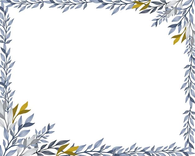 Fond blanc avec bordure de feuilles grises et jaunes
