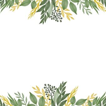 Fond blanc avec bordure de feuilles vertes et jaunes fraîches pour carte de voeux