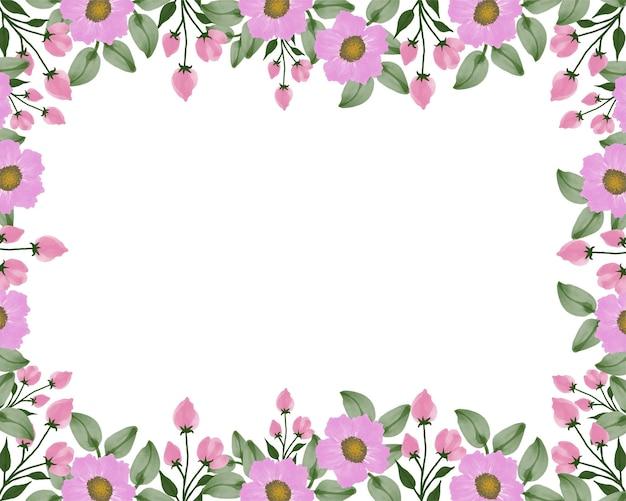 Fond blanc avec bordure en fleurs roses et feuilles vertes