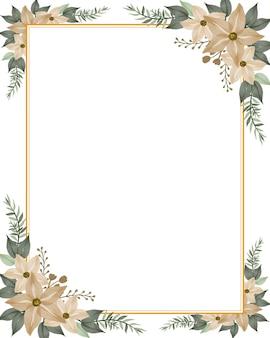 Fond blanc avec cadre aquarelle floral crème pour carte de voeux