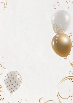 Fond blanc de carte d'invitation festive de ballons