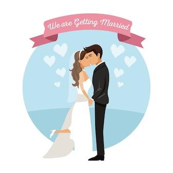 Fond blanc avec un couple nouvellement marié s'embrasser