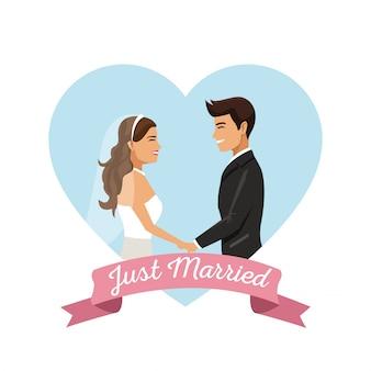 Fond blanc de couple tenant par la main juste marié