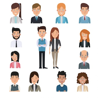 Fond blanc dans le centre de la paire de corps complet du corps avec les gens de la moitié du corps des affaires autour