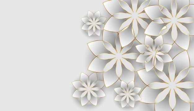 Fond blanc avec décoration de fleurs