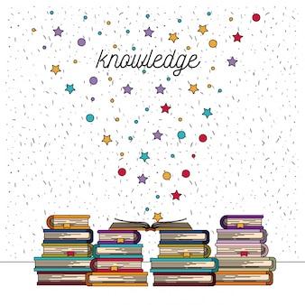 Fond blanc avec des étincelles de pile de connaissances de livres