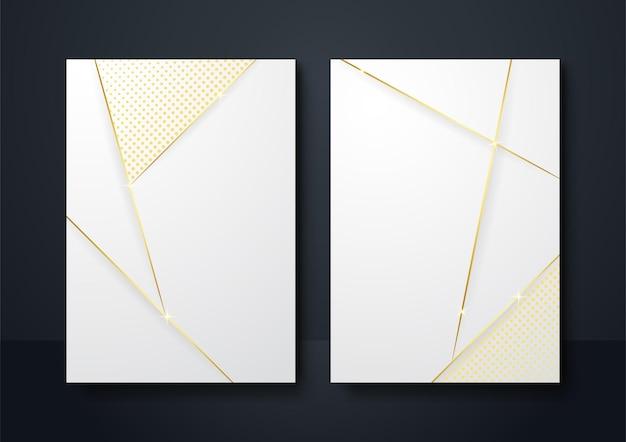Fond blanc de forme géométrique abstraite avec la lumière et l'ombre de la ligne dorée 3d en couches pour la conception de la présentation. arrière-plan du modèle d'histoire des médias sociaux, bannière, dépliant, affiche
