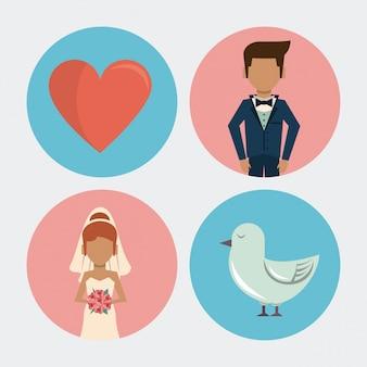 Fond blanc avec des icônes de mariage sur des cadres ronds