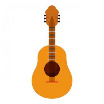 Fond blanc avec illustration vectorielle de guitare acoustique