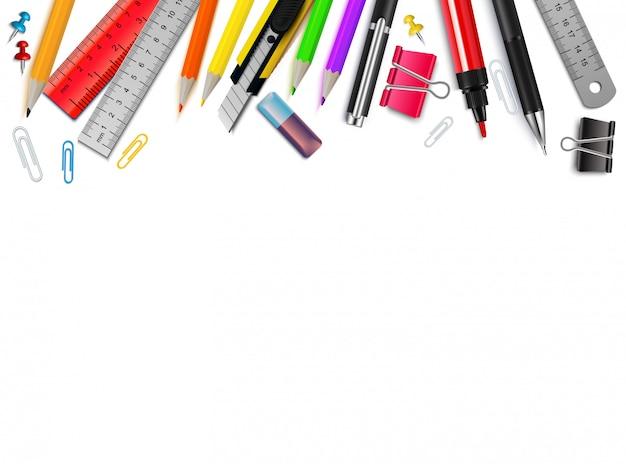 Fond blanc avec illustration vectorielle réaliste de différents articles de papeterie