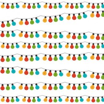 Fond blanc avec jeu de lumières colorées ampoule festons vector illustration