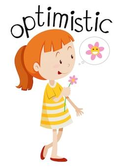 Fond blanc jeune fille optimiste