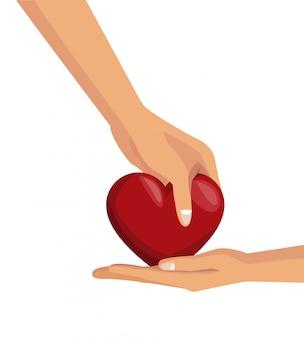 Fond blanc avec des mains colorées donnant un coeur à l'autre palm