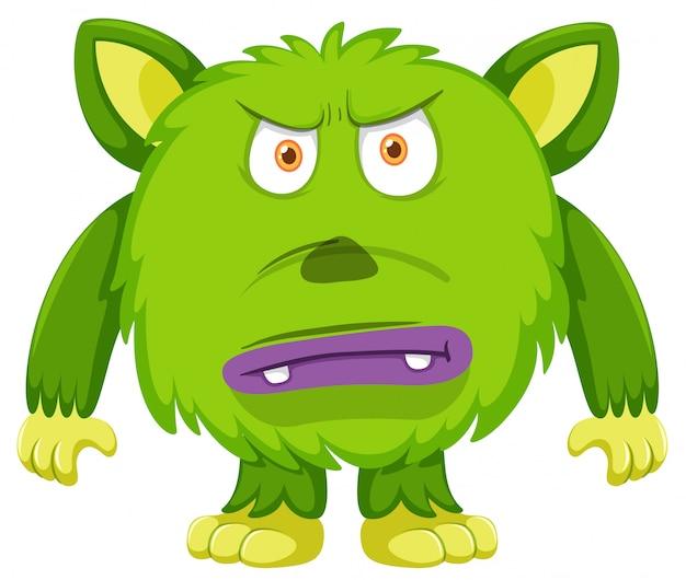 Fond blanc monstre vert en colère