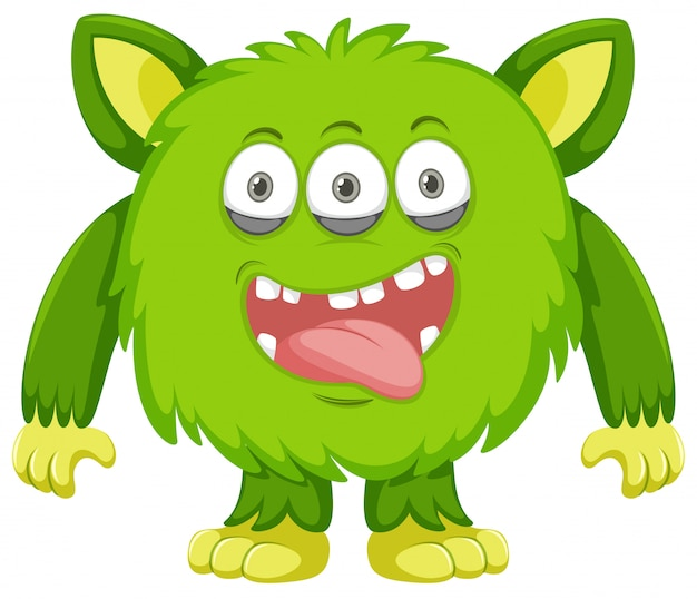 Fond blanc monstre vert ridicule