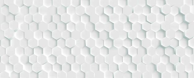 Fond blanc de mosaïque en nid d'abeille futuriste 3d. texture de cellules de maillage géométrique réaliste. fond d'écran blanc abstrait avec grille hexagonale.