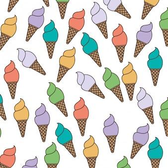 Fond blanc avec motif de cornet de crème glacée vector illustration