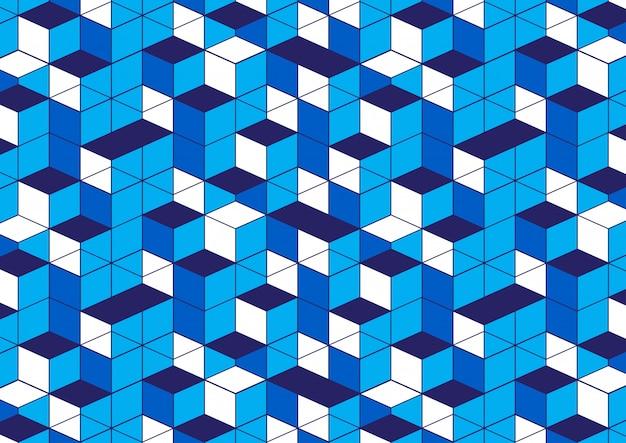 Fond blanc motif géométrique bleu