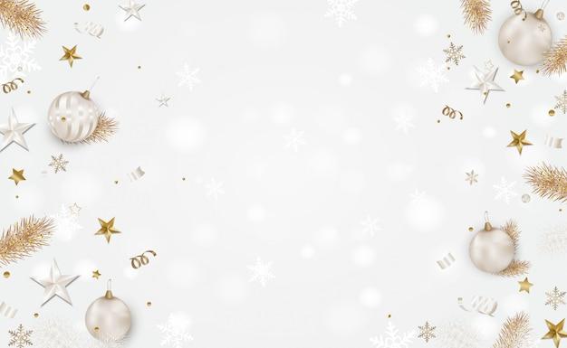 Fond Blanc De Noël Avec Un Espace Pour Le Texte Vecteur Premium