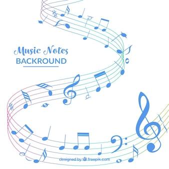 Fond blanc avec notes musicales bleues