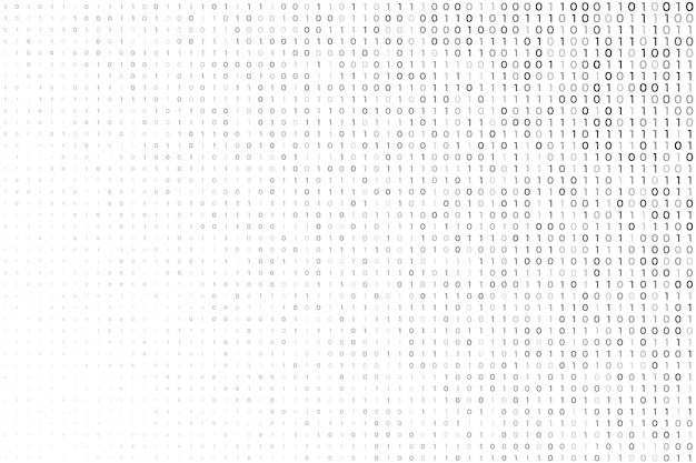 Fond blanc numérique avec des numéros de code binaire