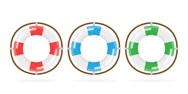 Sur fond blanc, objet isolé. bouée de sauvetage icône app. différentes bouées marines.