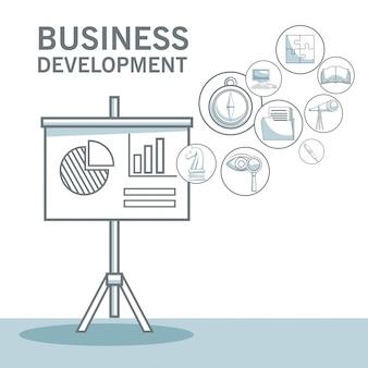 Fond blanc avec ombrage de sections de couleur silhouette du panneau de présentation agrandi avec des statistiques et des icônes illustration de vecteur de développement commercial