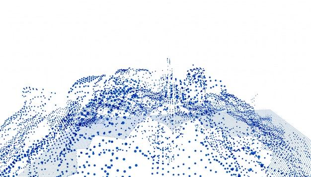 Fond blanc avec des particules numériques bleues