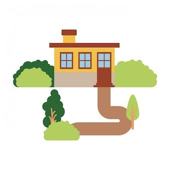 Fond blanc avec paysage naturel de façade de petite maison avec cheminée