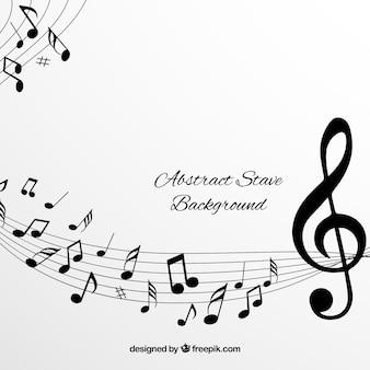 Fond blanc pentagramme avec des notes musicales noires