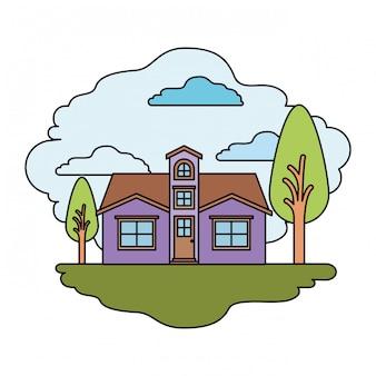 Fond blanc avec scène colorée de maison naturelle de paysage et façade avec grenier en journée ensoleillée