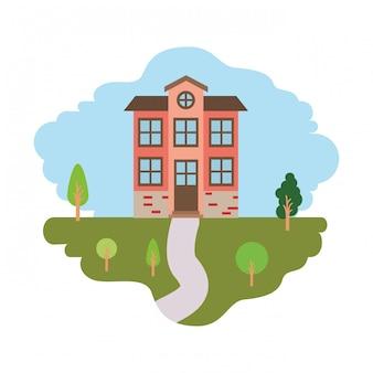 Fond blanc avec scène colorée de paysage naturel et façade maison de deux étages avec grenier