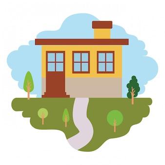Fond blanc avec scène colorée de paysage naturel et façade de petite maison avec cheminée