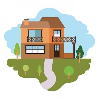 Fond blanc avec scène colorée de paysage naturel et maison de campagne de deux étages et balcon