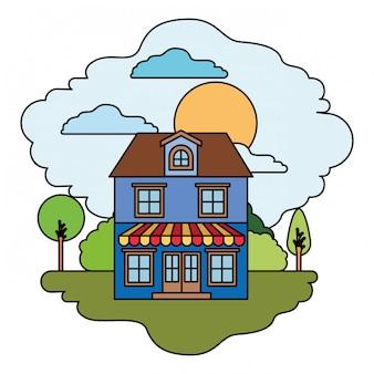 Fond blanc avec scène colorée de paysage naturel et maison à deux étages avec grenier et auvent en journée ensoleillée