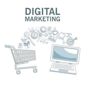 Fond blanc avec des sections de couleur des achats en ligne et des icônes marketing numérique