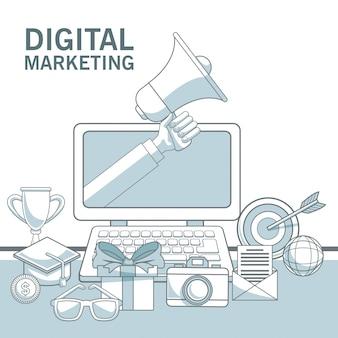 Fond blanc avec des sections de couleur de l'appareil portable avec la main tenant un mégaphone et éléments marketing numérique
