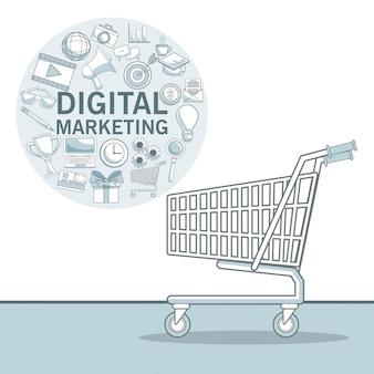 Fond blanc avec des sections de couleur du cadre circulaire avec des icônes marketing numérique et panier