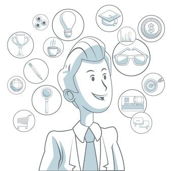 Fond blanc avec des sections de couleur du marketing numérique de l'homme exécutif et des icônes